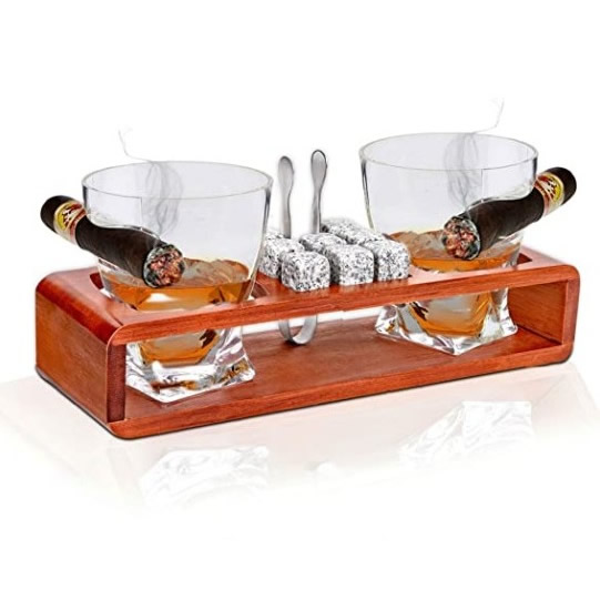 Bezrat Old Fashioned Whiskey Glasses With Side Mounted Holder Gift Set