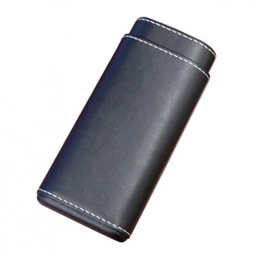 Black Leather 3 Cigar Case