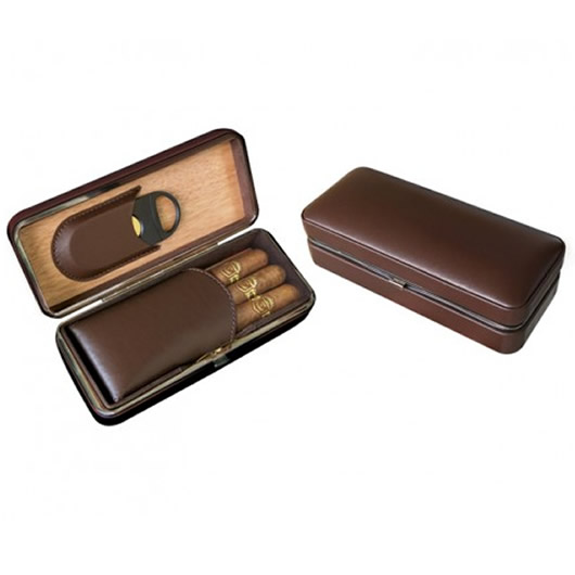 Brown Leather 3 Cigar Folding Case