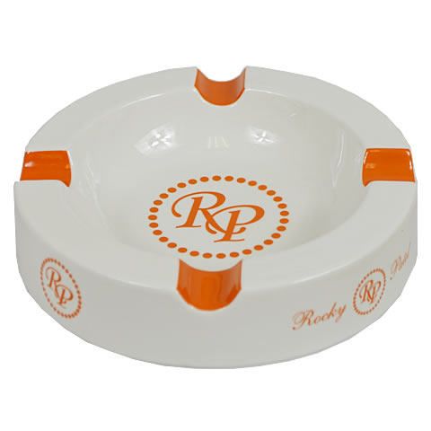 Rocky Patel Ashtray, White, Orange Logo