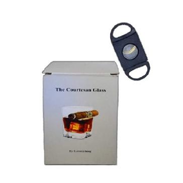 Whisky Rocks Glass - Cigar holder & Cigar cutter