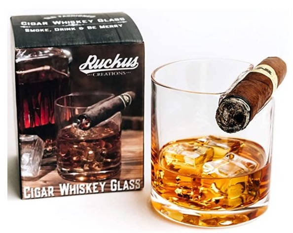 Old Fashioned Whiskey Glass with Top Mounted Cigar Holder
